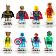 D842 Transparent Block Clear Batman Crystal Super Hero Iron Man Thor Hulk Spider Man Building Blocks Sets Models Bricks Toys