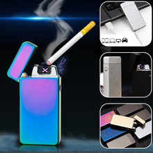 Hot! Classic Inovation Double Arc Lighter Windproof Electronic USB Recharge Lighter Cigarette Smoking Electric Lighter 15 Colors(China)