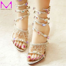 2016 Spring and Summer Sandals Handmade Rhinestone Sexy Sneak Shape Ankle Strap Wedding Shoes Open Toe Sandalias Zapatos Mujer