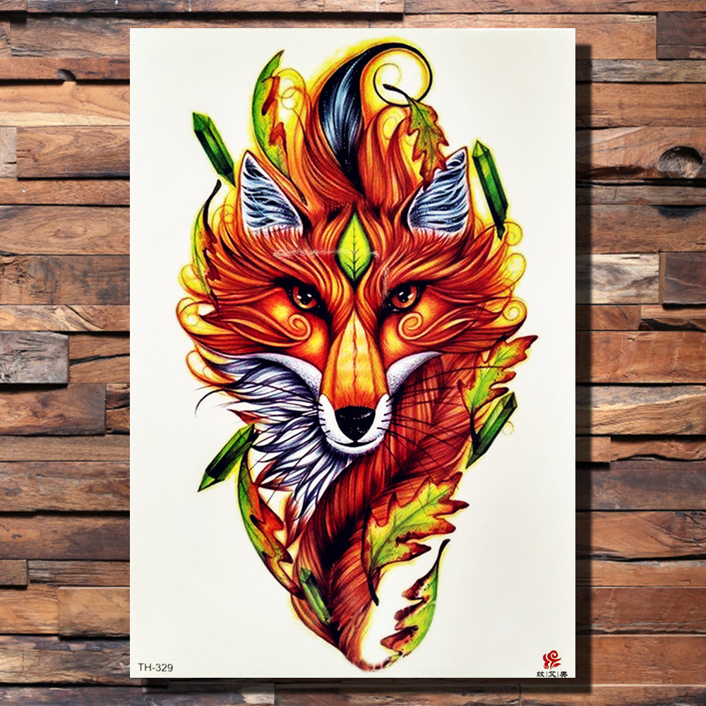 Acheter Fanrui Tribal Fire Fox Renard Rose Loup Feuilles Pin Tree