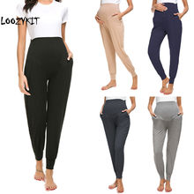 Loozykit pantalon de maternité femme maternité Super Stretch Secret Fit ventre cheville Skinny pantalon de travail Harem pantalon de grossesse 5 couleurs(China)