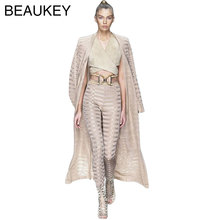 2017 New Arrivals Long Sleeve Belt Sexy Women's Rayon Best Quality Jacquard Long Bandage 2 Piece Set Bodycon Pants Coat & Cloak(China)