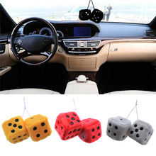 New Multi Color Cute Car Dice Ornaments Plush Dice Adhesive Disc Mirror Car Haning Pendant Car Decoration Key Chains Ornaments(China)