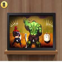 Canvas painting Toilet Hulk Thor Joker Spider Man Wolverine Marvel Heroes Funny Poster Wall Pictures Print  Home decor Unframed