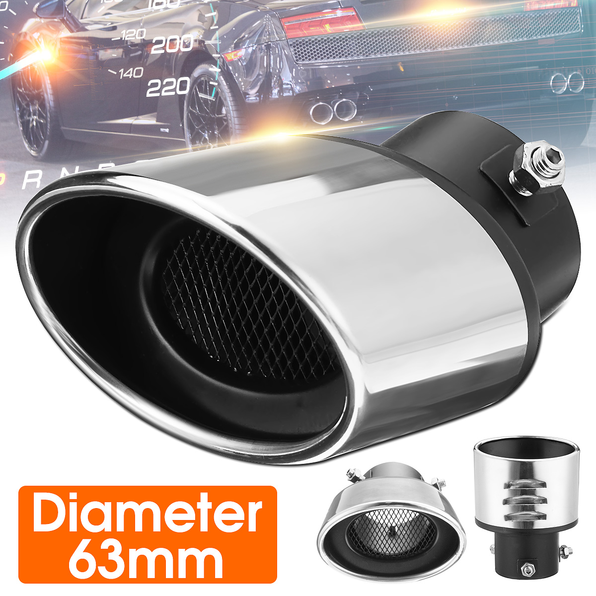 Universal 206A Car Exhaust Tip Trim End Pipe Tail Sport Muffler Stainless Steel Chrome