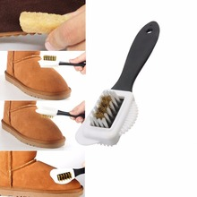 Black S Shape 3 Side Shoe Cleaning Brushes Suede Nubuck Three Side Shoe Cleaning Brush Boot Shoes Cleaner(China)