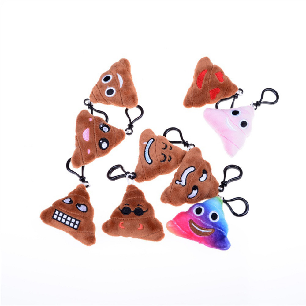 1PCS Cute Stuffed Small Pendant Emoji Poop Keychains Plush Cotton Small Emoji Pillow Keyrings for Bag Parts