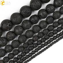CSJA DIY Jewelry Making Round Natural Stone Black Lava Beads 4 6 8 10 12 14 16 mm Volcanic Raw Material Necklace Bracelet E193