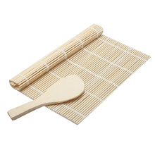 Sushi Rolling Roller Bamboo Material Mat Sushi Maker DIY and A Rice Paddle(China)
