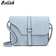Bolish Nubuck Leather Women Bag Fashion Single Strap Crossbody Bag Candy Color Mini Phone Bag(China)