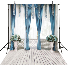 Wedding Photography Backdrop Blue Curtain Vinyl Backdrop For Photography Photocall Infantil Wedding Background For Photo Studio