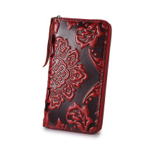 Chinese style Women Wallet Genuine Leather Zip Around Wallet female Clutch purse woman mobile phone bag coin purse Floral Flower(China)