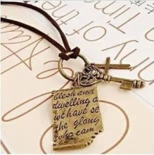 N347 2017 New Fashion Shakespeare love letter cross leather cord necklace key retro sweater chain cheap jewelry wholesale(China)