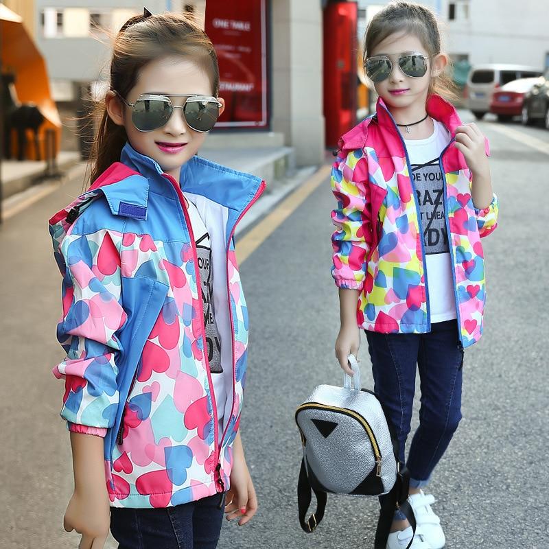 heart pattern pink red blue hooded children jacket little teenage girls outerwear pockets zipper sports autumn clothing for girl<br><br>Aliexpress