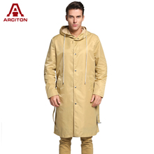 A ARCITON 2017 Spring Men COOL Lightweight Trench Coat Fashion Design Long Trench Coat Men Hoody Windbreaker(N-829)(China)