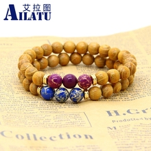 Ailatu New Design High Quality Nature Wood Jewelry with Sea Sediment Imperial Beads Stretch Energy Yoga Gift Bracelets