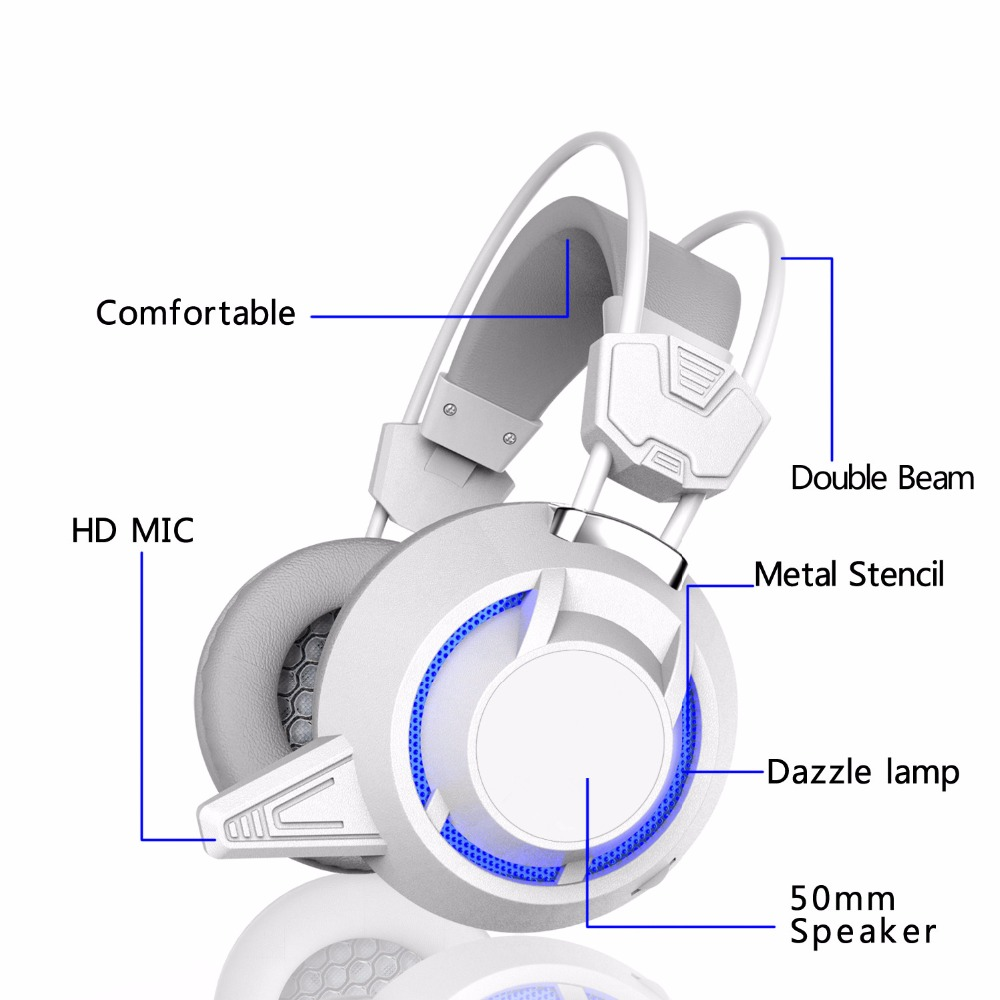 2018 New Arrival Gdlyl Gaming Headset Wired Earphone Gamer Headphone With Microphone LED Noise Canceling Headphones for Computer