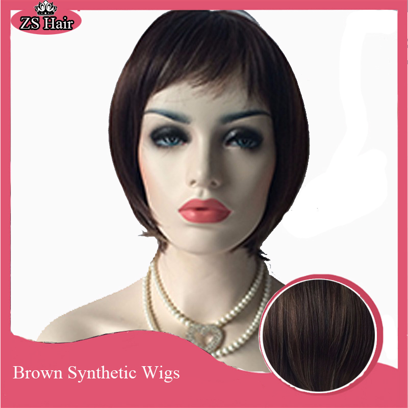 Brown Synthetic Wigs for Women Brown Straight Bob Wig Female Short Wigs for Brown Women Sale Short Straight Hair<br><br>Aliexpress
