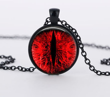 SUTEYI red cat's eye necklace Charms art blue, red eyes photo glass dome pendnat handmade necklaces women men jewelry(China)