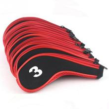 10Pcs Golf Club Iron Headcover Head Cover Leather  Golf Protection Set High Quality Golf Accessories