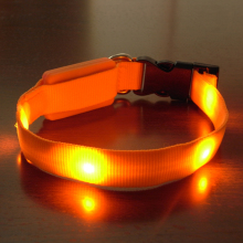 Pets Dog LED Light Blink Flash Night Safety Nylon Collar Waterproof Small Size AA