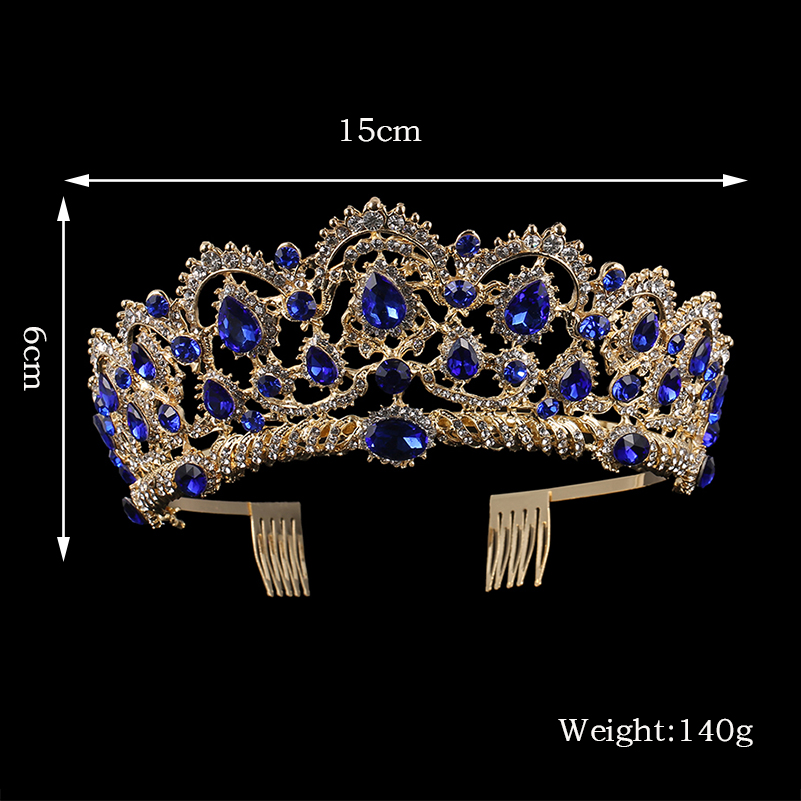 KMVEXO European Drop Green Red Crystal Tiaras Vintage Gold Rhinestone Pageant Crowns With Comb Baroque Wedding Hair Accessories 12
