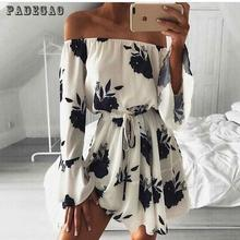 2017 Fashion Sexy Shoulder Dress Explosion Source Word Shoulder Sexy Backless Dress Vestidos Print Dress Beach Holiday Dress 543