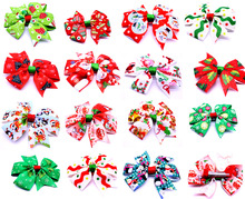 30pcs Christmas Designs Large dog bows Alloy Clip Big dog hair bows for holidays dog Christmas accessories pet grooming products