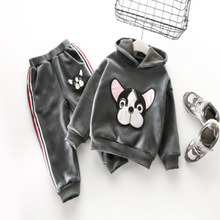 Black Friday cold winter2018 children boys and girls all-match dog Hoodie + casual pants suit kids outfits factory direct sales(China)