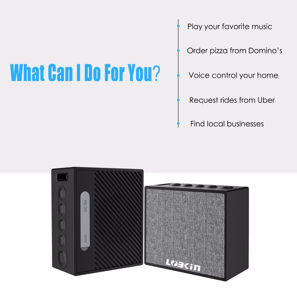 Lobkin WiFi Bluetooth Speaker HiFi Stereo Sound 1000mAh battery IPX6 waterproof Alexa Smart Speaker