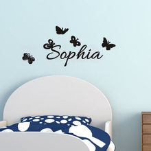 Free Shipping Custom Girls Name Butterflie Wall Sticker Vinyl Decal Removable Wall Mural Poster For Bedroom Art Decoration Y-584