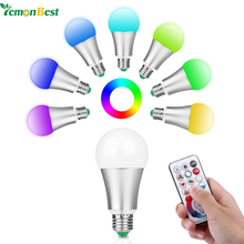 LemonBest 10W RGB W E27 LED Bulb Stage Lamp 220V Aluminum LED Lights 120 Colors Remote Control Memory Function AC 85-265V(China)