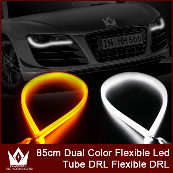 Guang Dian 85CM waterproof led Daytime Running Lights Color Strip Light Color DRL Yellow Color Turn signal Light car decoration<br><br>Aliexpress