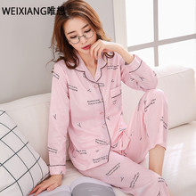 WEIXNAG Women Autumn Winter Luxury Pajamas Soft Comfortable Home Suit Women Cotton Pyjama Sleepwear Plus Size Pajamas Woman(China)