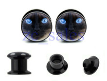 Blue eyes cat face picture  screws on flesh tunnel ear expander ear plug gauges 60pcs 10 sizes A0093