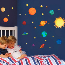 2016 New Creative Solar System Wall Stickers Plane Wall Paper Kids Bedroom Decor Outer Space Stars Planets Wall Decals 1 Sheet(China)