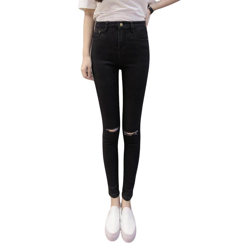 New Fashion 2017 High Elastic Cotton Womens Black High Waist Torn Jeans Ripped Hole Knee Skinny Pencil Pants Slim CaprisОдежда и ак�е��уары<br><br><br>Aliexpress