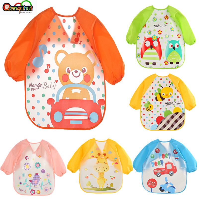 Cute Baby Bibs Waterproof Long Sleeve Apron Children Feeding Smock  Bib Burp Clothes Soft  Eat Toddler Baberos Bavoir Clothing(China)