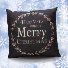 Vintage Christmas Letter Sofa Bed Home Decoration Festival Pillow Case Cushion Cover Christmas Decorations For Home black white(China)