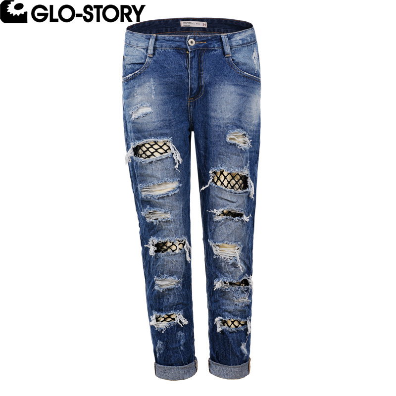 GLO-STORY Women Hole Ripped Boyfreind Jeans Female Fashion Hollow Out Spliced Mesh Distressed Jeans Ladies Denim Pants WNK-5125Îäåæäà è àêñåññóàðû<br><br>