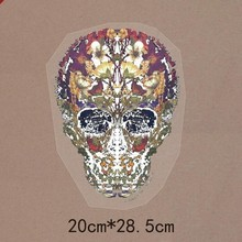 20*28.5cm Heat Transfer Individuality skull Iron On patches rhinestones DIY Applique~Wholesale 10pce/lot, free shipping