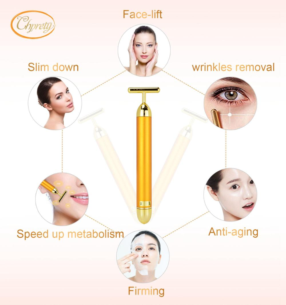 Slimming Facial  24k Gold Beauty Face Lift Skin Tightening Vibration bar  Roller Wrinkle Health  anti-aging Care Roller Massage