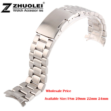 Unisex 16mm 18mm 20mm 22mm 24mm Silver Steel Watch Band Strap Bracelet Solid New Curved End Free Shipping