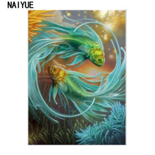 5D DIY Partial Diamond Painting Cross Stitch Big Green Fishes Diamond Embroidery Mosaic Pictures Diamond Peinture Diamant