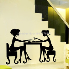 sex girls lady Hair Salon Nail art wall stickers glass decals for pub shop Mural home decor