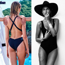 Buy One-piece Swimwear Summer Women Sexy Solid Color Backless Padded Bikini Swimsuit Bathing Suit