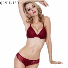 New 2016 cotton push up bra Absolute luxury lace sexy red wine under the thin thick underwear bra suit the underwear is female