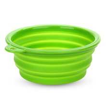 Bowl Feeder Foldable Silicone green for Dog Cat Pet