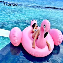 Tronzo 150CM Pink Inflatable Flamingo Pool Float Toys Giant Swimming Pool Ring For Adult Water Holiday Flamingo Party Supplies