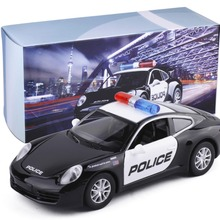 Shenghui 1:32 for Porsche police car alloy sound and light back to the car model toys 8911B / C gift box(China)